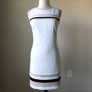 stripe hem shift ecru tan dress